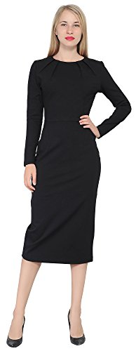 Marycrafts Women's Work Office Business Long Sleeve Pencil Midi Dress 12 Black