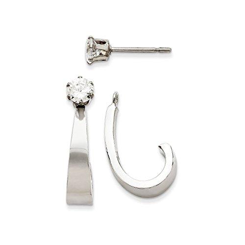 Roy Rose Jewelry 14K White Gold J Hoop w/CZ Earring Jacket by Roy Rose Jewelry