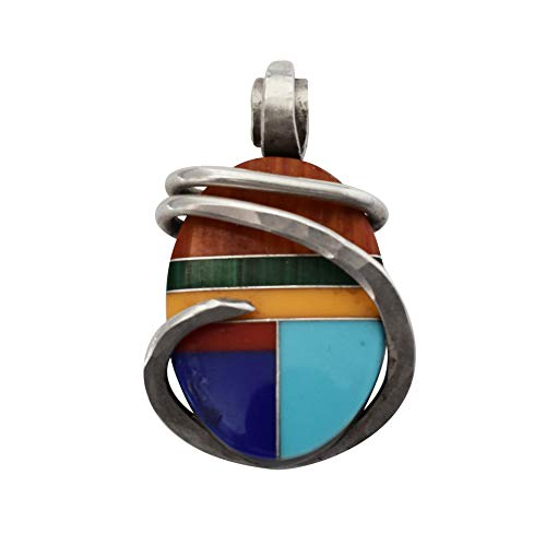 (Multiple Stones Inlay with Silver Hand Wrapped Pendant by Isabella Roth)