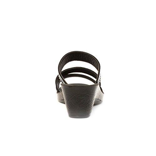 Lilley - Sandalia sin talón, taco cuña, negra, con apliques estilo diamante, para mujer Lilley Negro