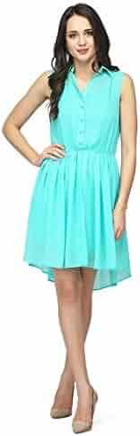 16412f5bdc3 RADANYA Women s High Low Dress Summer Wear Casual Party Georgette Short  Dress S-5XL Sky