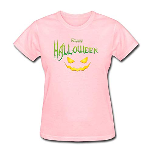 CopyBoy Store Womens Smile Devil and Happy Halloween T-Shirt Pink