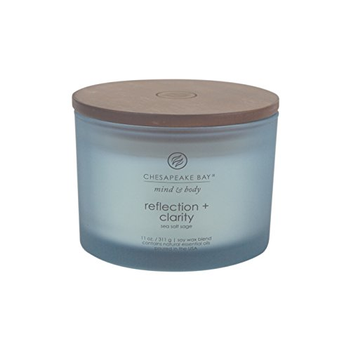 Chesapeake Bay Candle Mind & Body Coffee Table Scented Candle, Reflection + Clarity (Sea Salt Sage) (Natural Soy Jar Candle)