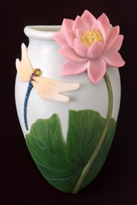 Dragonfly Lilies Water - Dragonfly & Waterlily Wall Vase