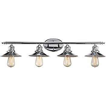 Trans globe lighting 20514 pc griswald indoor polished chrome industrial vanity bar 34 inch for Chrome industrial bathroom lighting
