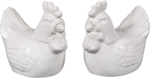 CERAMIC SALT AND PEPPER SHAKER SETS SET OF COUNTRY ROOSTERS (Candy Glass Rooster)