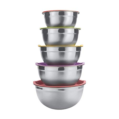 Raking 5 Piece Mixing Bowls Large 5 Quart Capacity Stainless Steel Bowl Set With Colorful Lids for Kitchen, Camping and Food ()