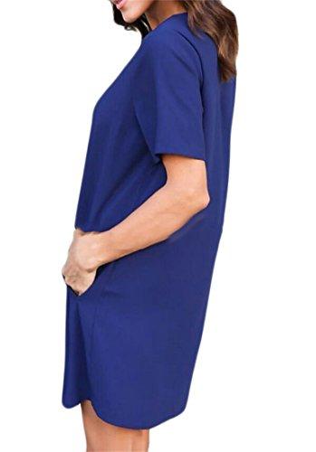 Partito Delle Solido Colore Abito Blu Mini Donne Domple Girocollo Reale Sciolto Adatto tfdRz7qd