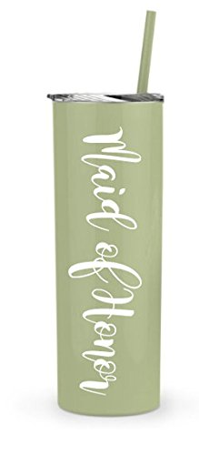 BRIDE Tumbler - Bridal Party stainless steel skinny tumbler - 20oz. Skinny Stainless Steel Tumbler 20 oz - Bride Tumbler Gift (Matcha - Maid of Honor)