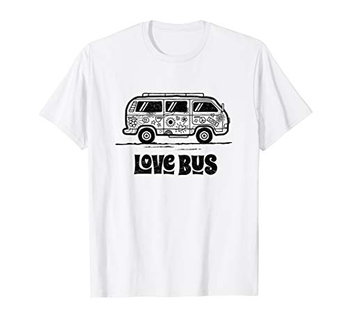 Love Bus Shirt - Hippie 60s, 70s Peace Retro Bus T-Shirt