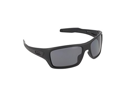 Oakley Men's Turbine OO9263-07 Polarized Rectangular Sunglasses, Matte Black, 65 - Oakley Sunglasses Wrap