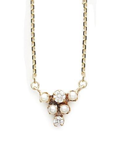 """Cerise Marron """"graines de graines de collier en or jaune 10carats avec perle et diamant dans un design Cascade Longueur de 40cm"""