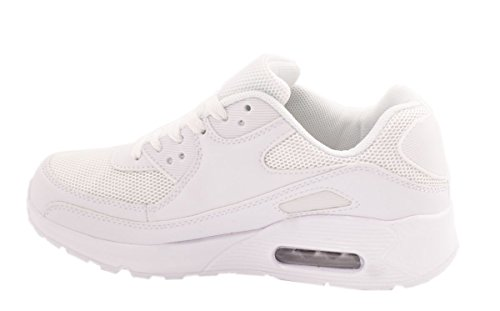 Femme Homme Sneakers Chaussures de sport enfant chaussures de course Runners Profil Semelle turnschuhegroße Tailles, Blanc - Blanc, 45 EU