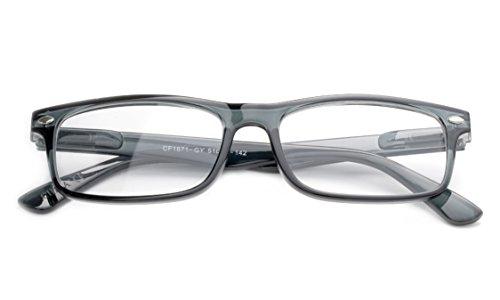 Newbee Fashion - Unisex Translucent Simple Design No Logo Clear Lens Glasses Squared Fashion Frames Grey
