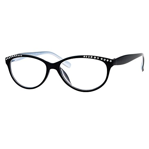 (Womens Magnified Reading Glasses Rhinestones Oval Cateye Black Silver +1.50)