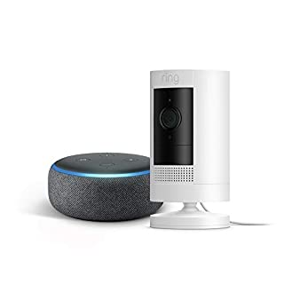 All-new Ring Stick Up Cam Plug-In with Echo Dot (Charcoal)