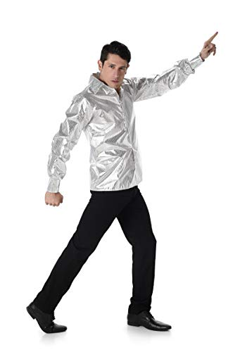 70s Disco Costume - Halloween Silver Sequin Pimp Shirt Dance Fever for Men, Medium ()