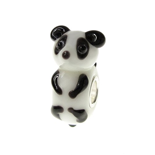 925 Sterling Silver China Lovely Panda Black White Glass Bead For European Charm Bracelets (And Bead Black White Glass)