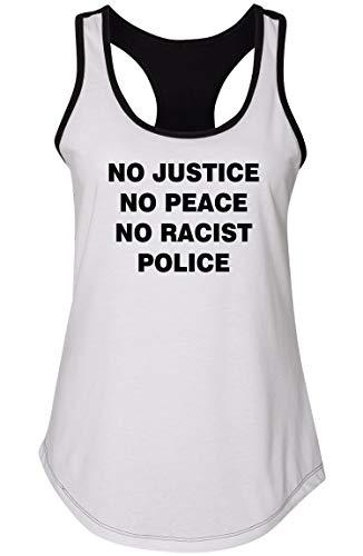Ladies Colorblock Tank Top No Justice No Peace No Racist Police Black Lives White/Black XL (No Justice No Peace No Racist Police Shirt)