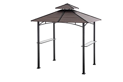 Sunjoy 8.1' by 5.2'Large Bellevue Hardtop Grill Gazebo, Faux Copper