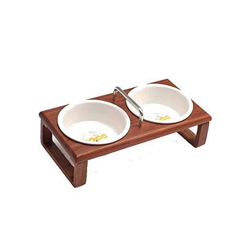 WXMJ Dog Bowl Double Bowl Protection Cervical Vertebra Ceramic Solid Wood cat Bowl high-Grade Dog Basin Anti-Skid Water Bowl pet Supplies-Rosewood ()