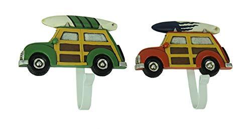 DeLeon Collections - Ganchos Decorativos de Resina para Pared de Coche, diseño Vintage de Madera, Color Rojo y Verde, 2 Unidades de 5,75 x 5,75 x 5 cm: ...