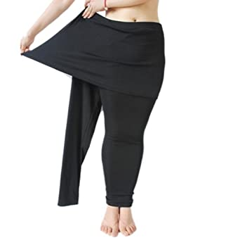 GOGO TEAM Women's Basic Skirt Leggings, Plus Size Black Leggings ...