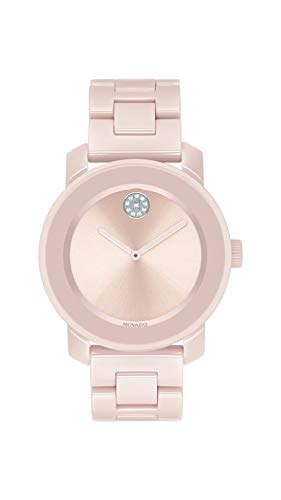 (Movado Women's BOLD Ceramic Watch with a Crystal-Set Dot, Pink/Silver (Model 3600536))