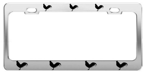 ROOSTER ANIMAL PICTURES FUNNY CHROME STEEL LICENSE PLATE FRAME TAG (Bella Rooster)