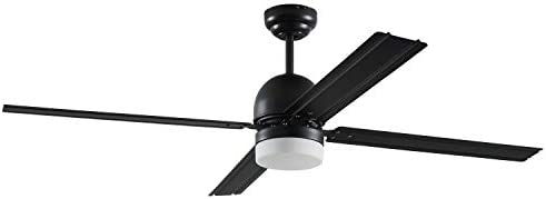 Rivet Modern Straight Blade Remote Control Flush Mount Ceiling Fan with Integrated LED Light – 53 x 53 x 16 Inches, Matte Black