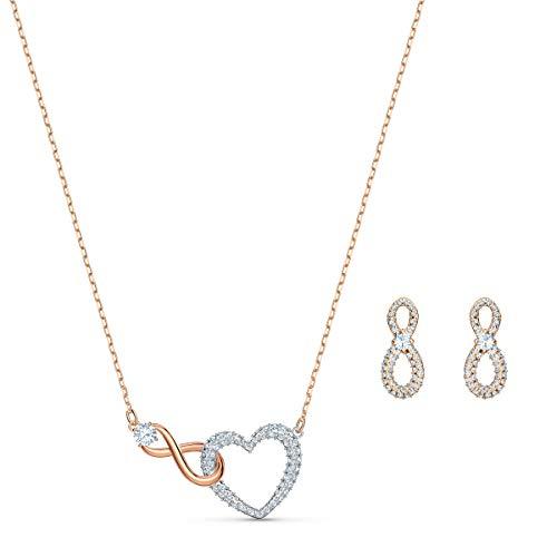 Swarovski Infinity Heart Set, Weiss, Metallmix