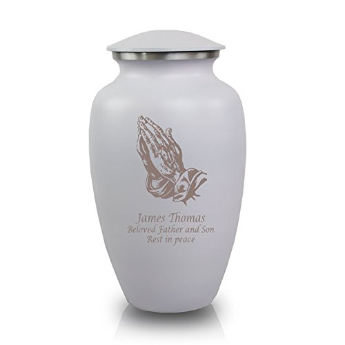 Praying Hands Cremation Urn - OneWorld Memorials Praying Hands Aluminum Cremation Urn - Large - Holds Up to 200 Cubic Inches of Ashes - White Praying Hand with Engraving Urns for Human Ashes - Custom Engraving Included