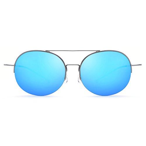 Conduisant Cadre Couleur Blue Lunettes Gold Soleil Alliage LBY À Soleil De Frame Femme De de Moitié Lens Gray Lens Gun Frame Titane Lunettes Miroir en qaxXAwY