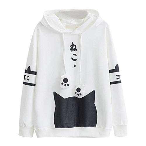 Womens Japanese Kawaii Style Kitty Cat Print Pocket Long Sleeve Thin Hoodie Tops