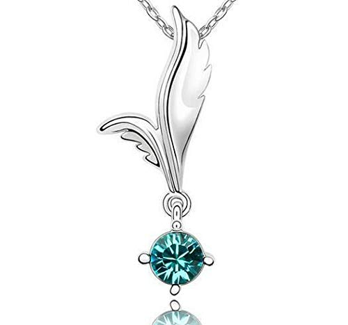 - Womens Angel Wings Green Crystal Rhinestone Silver Chain Pendant Necklace HOT