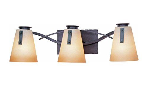 Volume Lighting Lodge 3-Light Frontier Iron Bathroom Vanity - Frontier iron finish Can be mounted up or down LED Compatible - bathroom-lights, bathroom-fixtures-hardware, bathroom - 31N ItfUG9L -