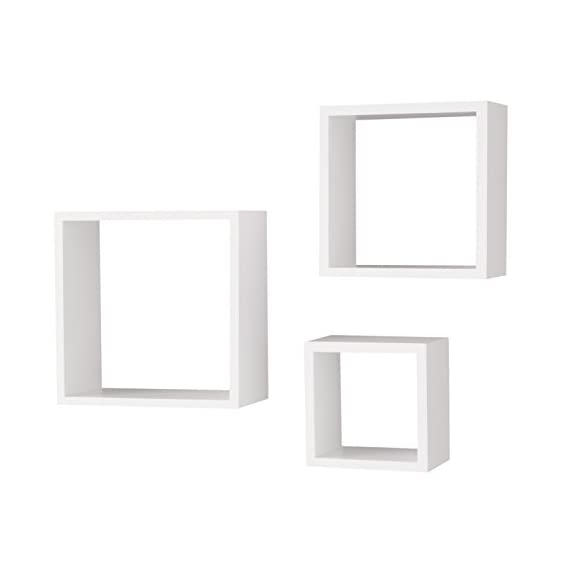 Wallniture Compact Living Room Decorative Display Cubes Floating Shelves Set of 3 White - Get More for Your Buck: With your purchase today, you will get more for a good price. You can decorate a large wall space with this cube shelf set, all you need to do is add a few of your home décor objects, or showcase your awards and trophies proudly. Sturdy Construction: The solid wood material will help you organize Knick knacks, collectibles, plants, candles, CDs, DVDs, books, toiletry, or other necessities that need a home. Guaranteed to keep you satisfied, these shelves will not break, buckle or bend. Easy Installation: There's no hard assembly or installation required with your purchase of this set, these shelves are easy to install on your wall and the mounting hardware is included in the packaging to help you create a high-end design without any hassle or frustration. - wall-shelves, living-room-furniture, living-room - 31N JomlbxL. SS570  -