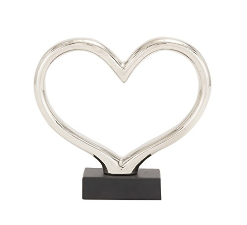 Heart Sculpture - Deco 79 92903 Ceramic Silver Abstract