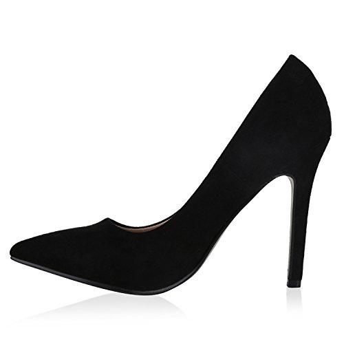 Stiefelparadies Spitze Damen Pumps Samt High Heels Stilettos Party Schuhe Flandell Schwarz Velours Camiri