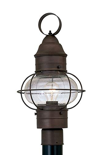Rustique Finish - Designers Fountain 1766-RT Nantucket - One Light Outdoor Onion Post Lantern, Rustique Finish with Seedy Glass