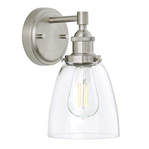 Fiorentino LED Industrial Wall Sconce - Brushed Nickel w/ Clear Glass - Linea di Liara LL-WL582-BN (Bathroom Wall Sconce)