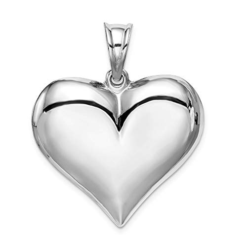 Jewel Tie Sterling Silver Polished Puffed Heart Pendant (32mm x 30mm) (Puffed Heart Plated)
