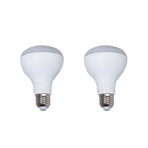 2-Pack Non-dimmable White Aluminum Housing LED R80 Light Bulbs E27 Base 9w (60w Equivalent) 180 Degree Beam Angel (Soft White 3000K)