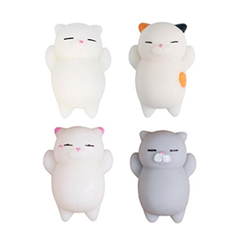 Squishy Cats Toys,4 Pcs Kawaii Squeeze Toy Stress Reduce Mochi Squishy Animals Vent Hand Toy Cute Slow Rising Animal Squeeze Kids Toy Gift