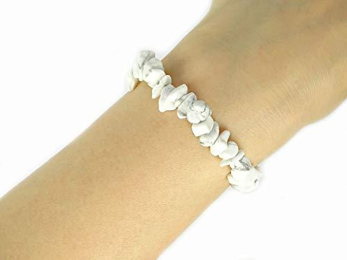 jennysun2010 Natural White Howlite Gemstone 5-8mm Freeformed Chip Beads Stretchy Bracelet Healing Reiki Chakra - Gemstone Bracelet Chip
