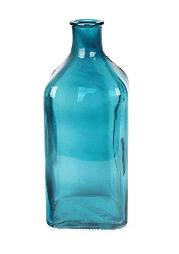 Flowersea Flower Bud Vase, Floral Glass Vase, Alva Stylish Decorative Rectangle Shape Flower Glass Vase (Large, Cadet Blue)