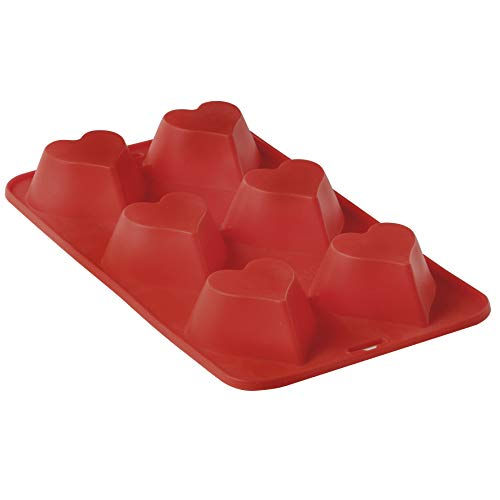 Forma de Silicone para 6 Cupcakes Coração Mimo Style Vermelho/Laranja/Verde