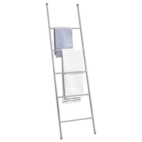 mDesign Metal Free Standing Bath Towel Ladder Storage Organization, Rack for Bathroom, Bedroom, Laundry Room - Chrome (Ladder Towels Bathroom For)