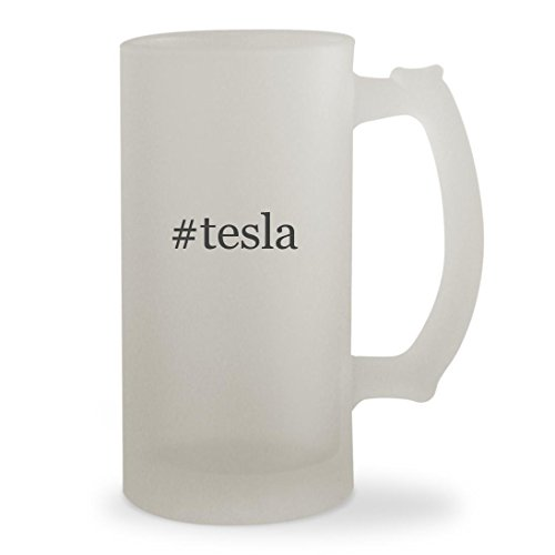 Virginia Tech Rocks Glass - #tesla - 16oz Hashtag Sturdy Glass Frosted Beer Stein
