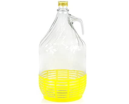 Vino Globo Globo de cristal con rosca de cesta de plástico y vidrio botella gärballon 5